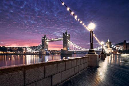 Popular travel destination - Tower Bridge against colorful sunrise. Cityscape of London, United Kingdom Reklamní fotografie