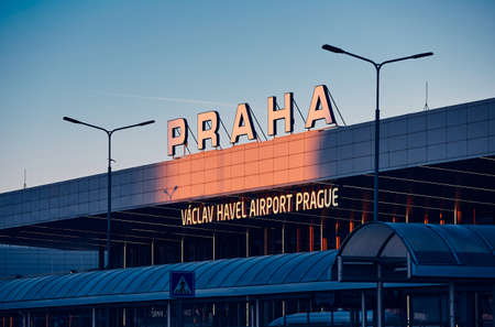 Prague, Czech Repiblic - February 28, 2019: Main building of Terminal 1 at morning light. Vaclav Havel Airport Prague on February 28, 2019 in Prague, Czech Republic.
