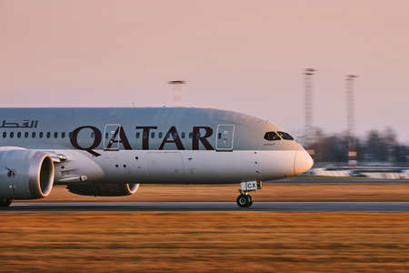 Prague, Czech Republic - January 21, 2020: Qatar Airways Boeing 787 Dreamliner taking off from Vaclav Havel Airport Prague in Czech Republic on January 21, 2020.