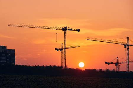 Building activity on contruction site. Silhouettes of cranes against sun. Stock fotó
