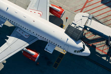 Aerial view of airport. Preparation of airplane before departure. Stock fotó