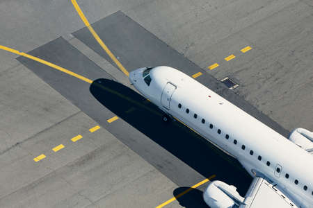 Aerial view of airport. Airplane taxiing to runway before take off. Stock fotó