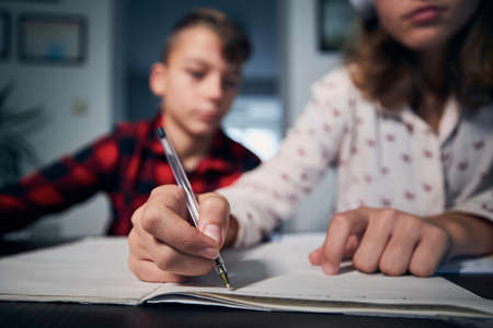 Children learning at home. Teenagers writing homework together in living room. Stock fotó