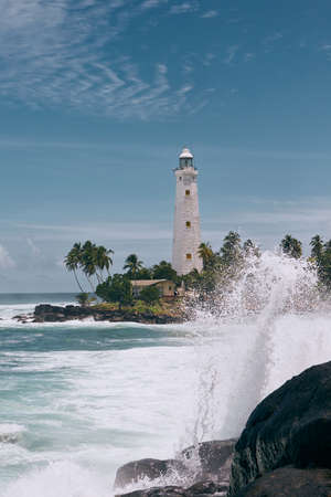 Lighthouse in the middle of palm trees. South coast of Sri Lanka during beautiful sunny day.