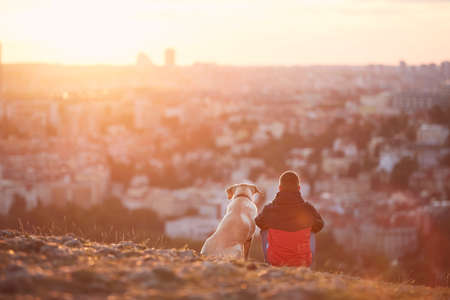 Rear view of young man with dog at sunrise. Pet owner sitting with his dog on hill against city. Prague, Czech Republic. Stock fotó