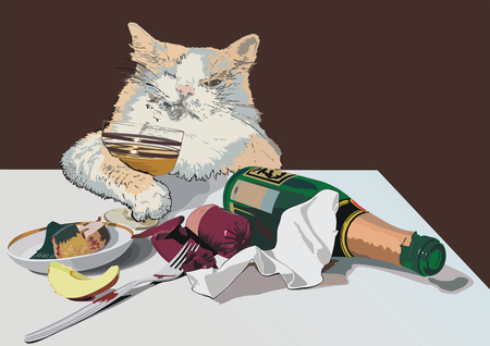 parody: A cat after yesterdays party is trying to make himself better.