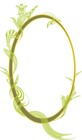 beautify: Oval frame or vignette decorated with abstract vegetation. Illustration