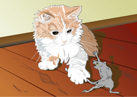 wrathful: A humorous picture in which a cat caught an old rat and the rat is trying to release its tail from cats claws.
