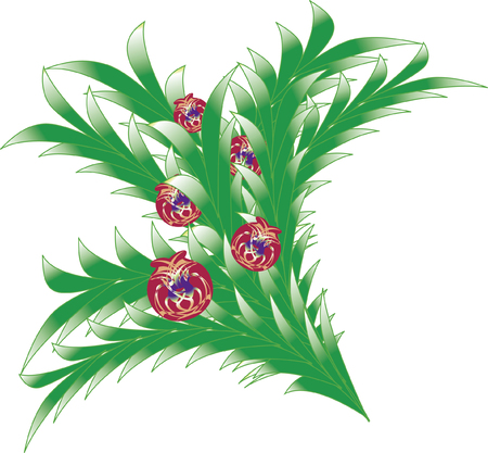 beautify: Bush or bouquet of abstract leaves (resembling fern or palm) decorated with balls. Illustration