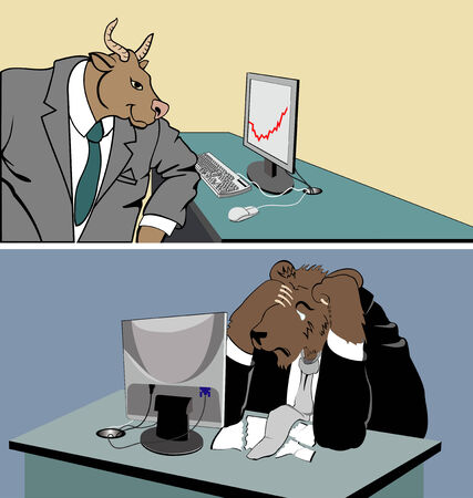 bear market: A symbolic depiction of bull (bullish) trend. Illustration