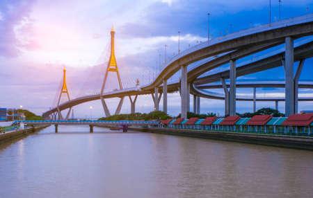 View of Bhumibol and Chao Phraya River, Bangkok Editorial