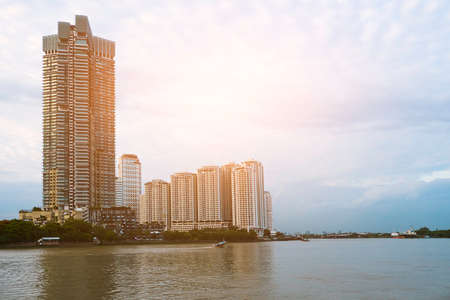 Chao Phraya River View  in Bangkok Stock Photo