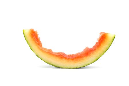 Fresh bitten watermelon slice isolated on white background