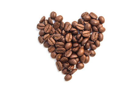 Heart from coffee beansisolated on a white background Stock Photo