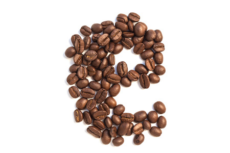 e from coffee beansisolated on a white background