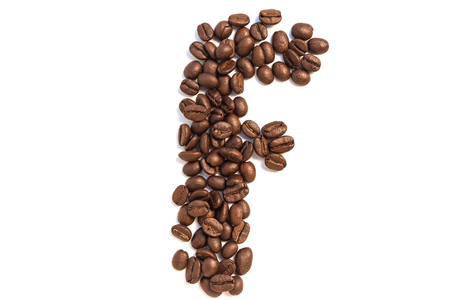 F from coffee beansisolated on a white background