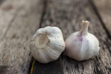 garlic on wood