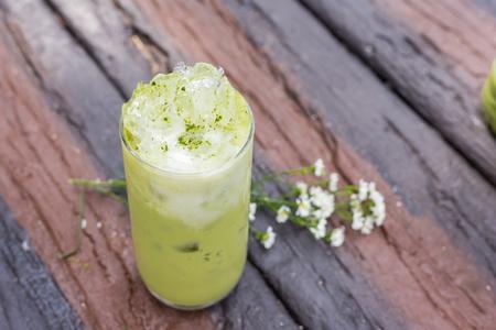 Iced Green tea on wood table