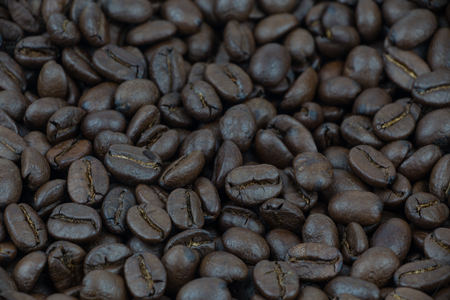 A coffee mug of coffee beans Stock Photo