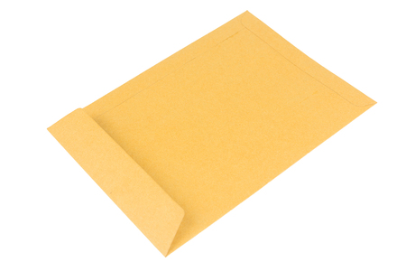 Brown craft envelope isolated on white background. clipping path
