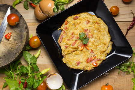 omelet in a plate. Stock Photo - 99382368