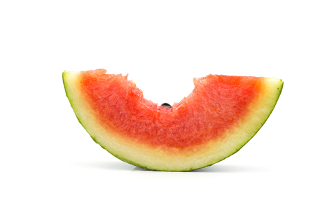 Fresh bitten watermelon slice isolated on white background