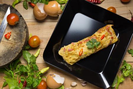omelet in a plate. spanish omelet.