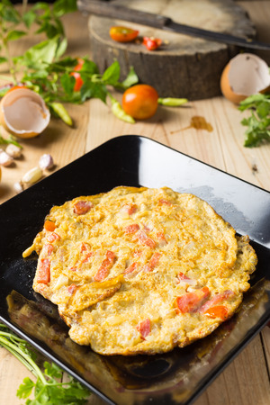 omelet in a plate. Stock Photo - 99382373