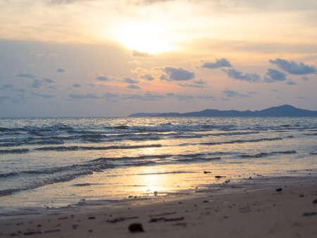 speedboats: sunset on pattaya beach in thailand