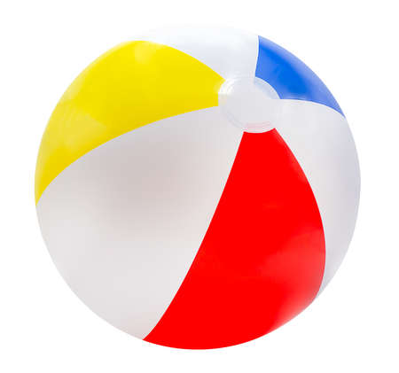 Beach ball isolated on white background with red, yellow, blue and white. Standard-Bild
