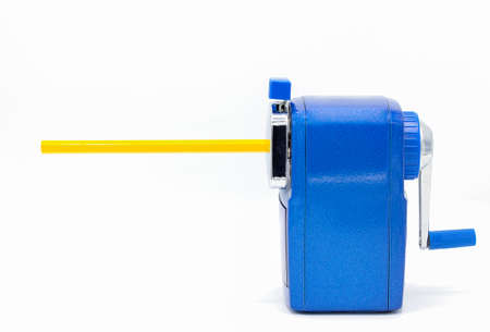 Blue pencil sharpener isolated on white background