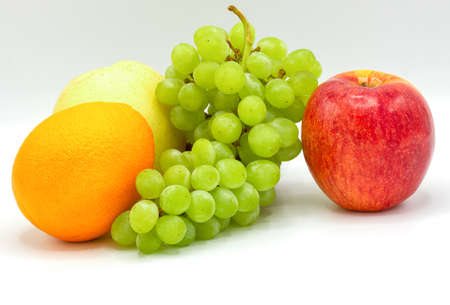 Fresh fruits,apple,Green grapes,Orange,Pyrus pyrifolia,Composition with assorted fruits on white background