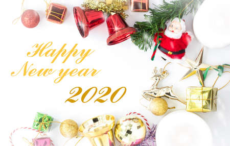Merry Christmas and Happy New year with festive decoration and text - Happy New year ,Copy space,top view Foto de archivo
