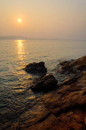 koh samet: sunset and beach and Ocean twilight at Koh Samet, Thailand Stock Photo