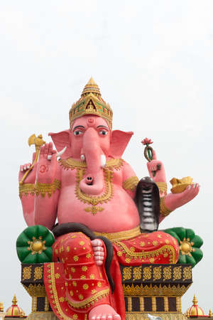 pink elephant: Pink elephant head god on white sky background
