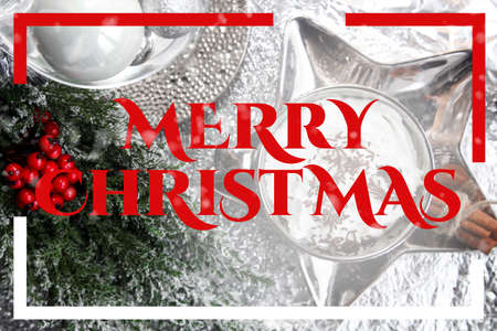Christmas card, merry christmas, english, England, table, snow, christmas ball, xmas Stock Photo