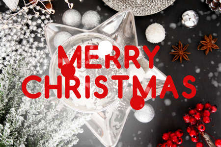 Christmas card, merry christmas, english, England, table, snow, christmas ball, xmas 写真素材
