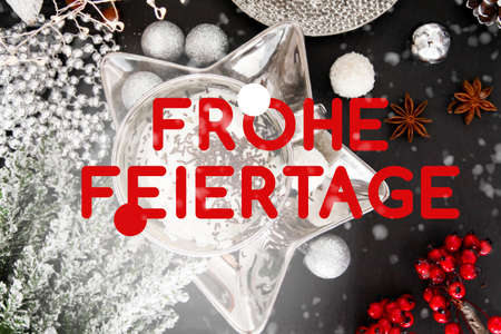 German christmas card, frohe feiertage, Germany, table, snow, christmas balls, silver gold
