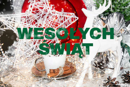 Polish christmas card, merry christmas, wesolych swiat, Poland, table, snow, christmas ball, xmas