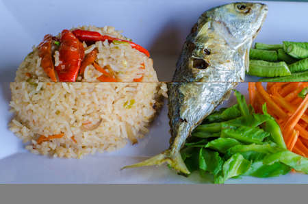 indo pacific: rice with short mackerel Thai Food