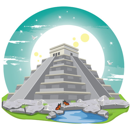 pre columbian: illustration . Maya Pyramid Old Mexican Stone.chichen itza Illustration