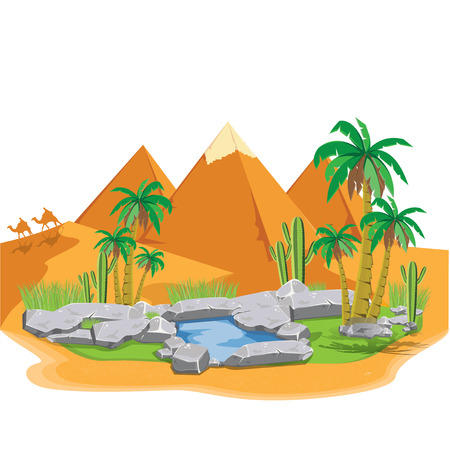 ancient civilization: illustration. pyramids Giza. vector