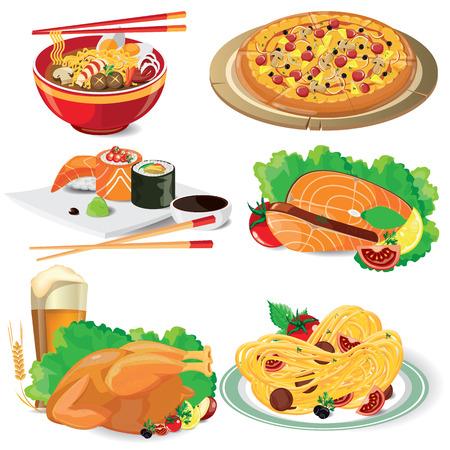 illustration of food: alimentos ilustraci�n en blanco, vector Vectores