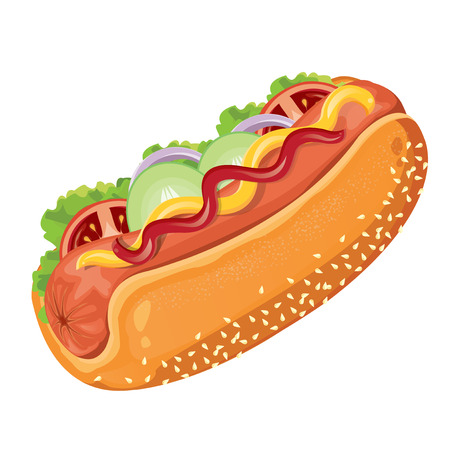 fat dog: illustration. hotdog on white background Illustration