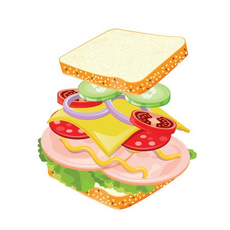 sandwich white background: illustration. sandwich on white background.