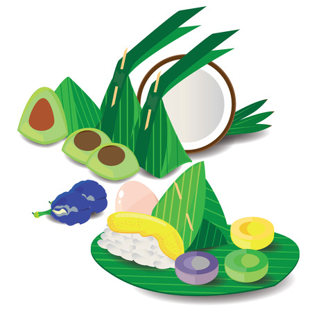 illustration traditional Thai dessert on white 1 向量圖像