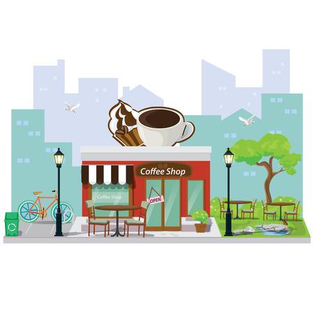sidewalk cafe: illustration. coffee restaurant and shop building facade.