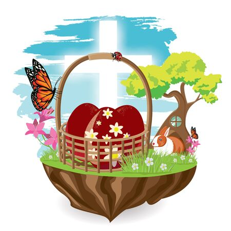 Illustration. Easter eggs red on grass with a white cross. Vector