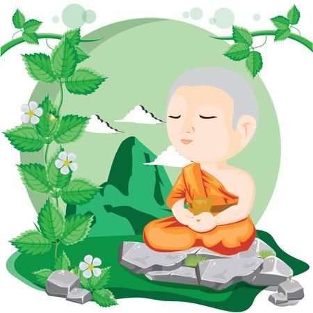 illustration Cartoon buddhistischer Mönch meditieren.