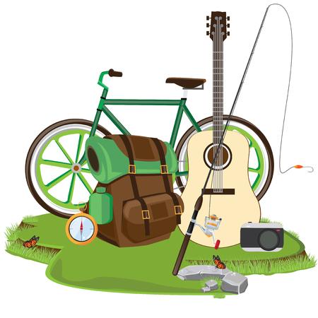 family hiking: illustration. camping Fishing.